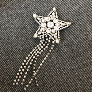 CRYSTAL EMBELLISHED SHOOTING STAR BROOCH